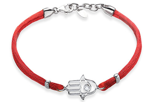 14K White Gold HAND OF GOD/Red String Bracelet