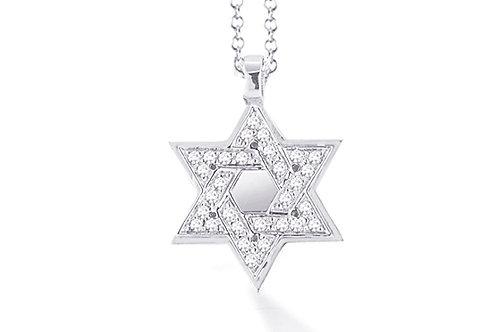 "14K White Gold STAR OF DAVID/""MAGEN DAVID"" Necklace"