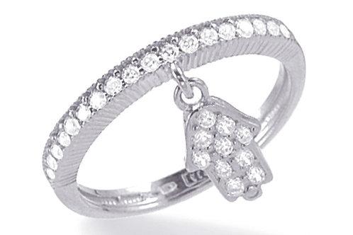 "14K White Gold HAND OF GOD/""HAMSA"" Ring"