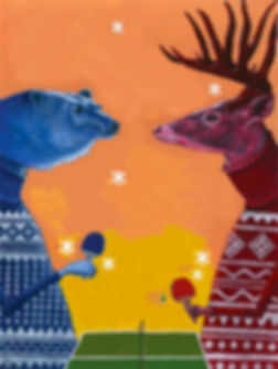 Rebecca Hendin: Wintry 'Bear Vs. Deer' acrylic painting illustration - available as art print. Christmas - Snow - Snowflakes - Jumpers - Sweaters - Ping Pong - Animals - Humour - Funny
