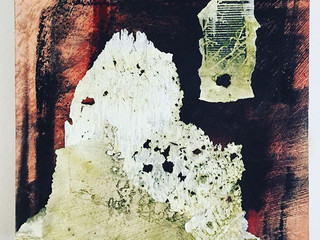 """quoin, 6""""x6"""" mixed media collage with ab"""