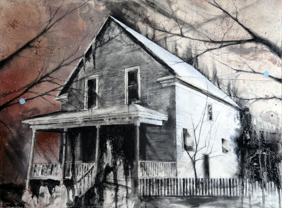 mixed media charcoal drawing on wood panel