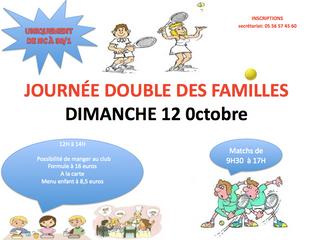 Tournoi double des familles le dimanche 12 octobre