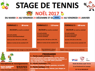 Stage de tennis vacances de NOEL