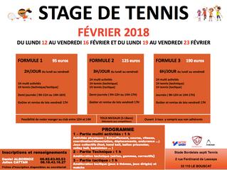 Stage de Tennis Vacances de Février
