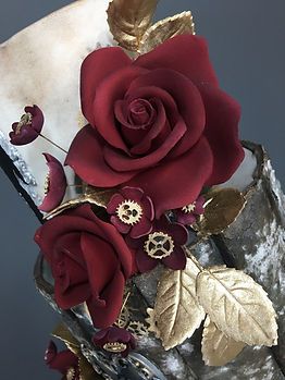 Steampunk sugar flowers.