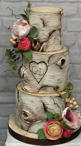 Silver birch wedding cake.