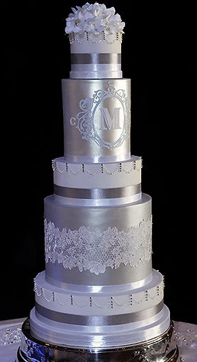5 tier silver wedding cake
