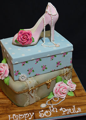 Shoe and shoe box with makeup case styled cake.