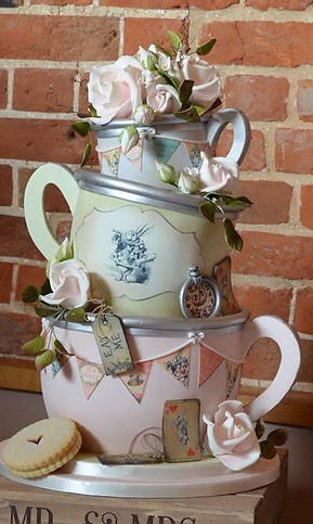 Wonky teacups wedding cake