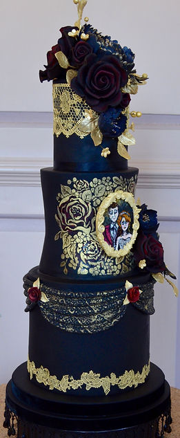 Gothic black and gold wedding cake.