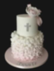pink ruffles Christening cake