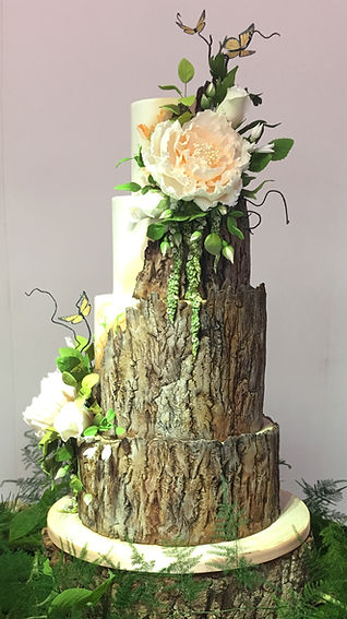 Half wood wedding cake.