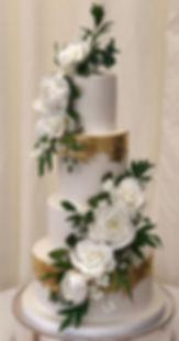 Gold leaf botanical wedding cake