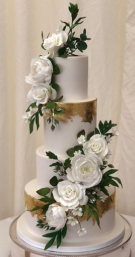 Gold leaf botanical wedding cake