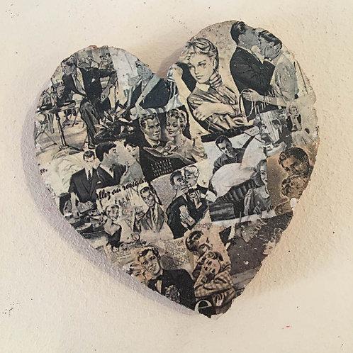 Decaroline terre cuite magnet cœur Couple noir et blanc