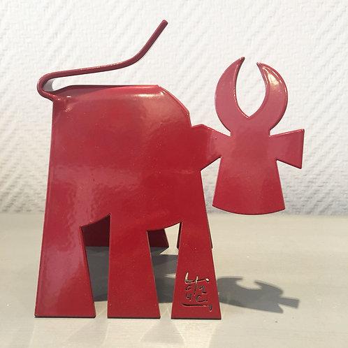 VanLuc Vache de Métal format S monochrome rouge carmin