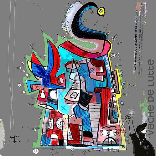 VanLuc œuvre reproduite sur plexiglas Vache de Lutte