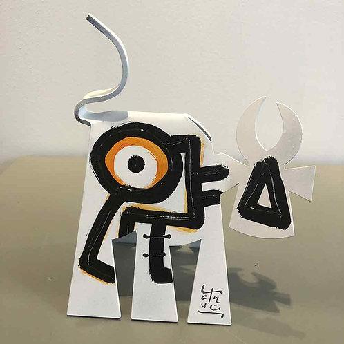 VanLuc Vache de Métal format M peinte création 102