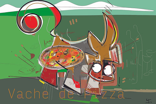 VanLuc Set de table Vache de Pizza