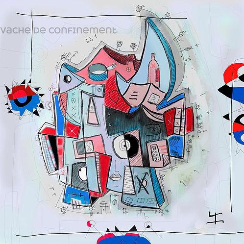 VanLuc œuvre reproduite sur métal Vache de Confinement bleu blanc rouge