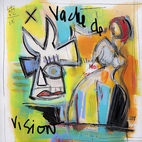 VanLuc œuvre reproduite sur métal Vache de Vision