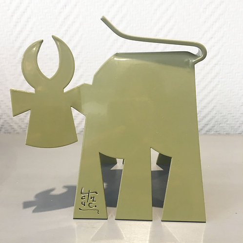 VanLuc Vache de Métal format S monochrome vert kaki