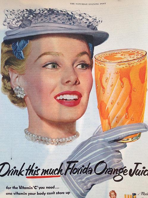 Decaroline illustration 50's sur métal - Orange Juice