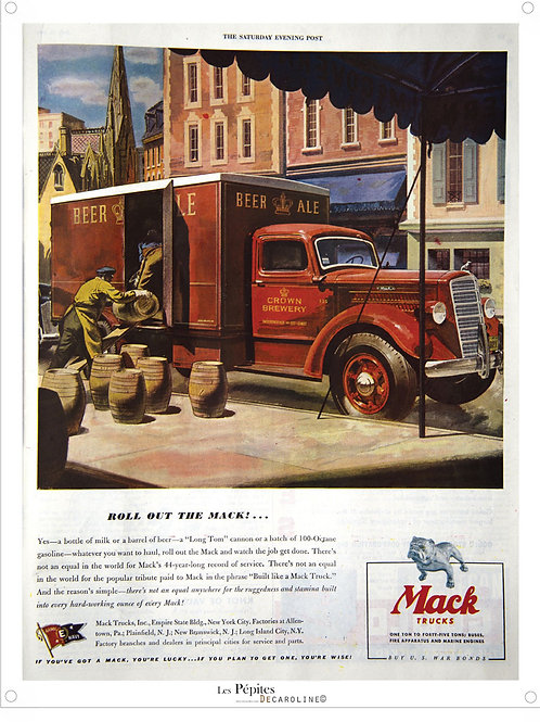 Decaroline illustration 50's sur métal - Mack trucks
