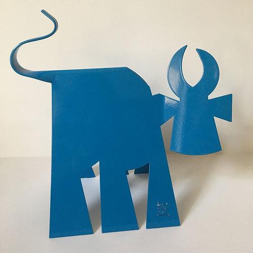 VanLuc Vache de Métal format L monochrome bleu
