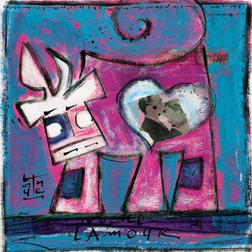 VanLuc œuvre reproduite sur métal Vache d'Amour bleue