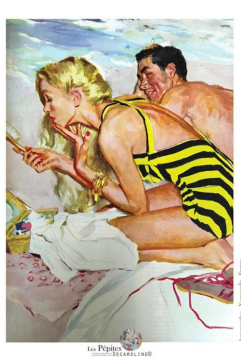 Decaroline illustration 50's sur métal - Couple à la plage