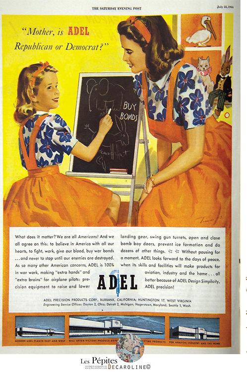 Decaroline illustration 50's sur métal - Adel