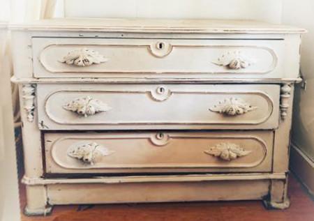 Eastlake Dresser - 3 drawer shabby white dresser. Rental $100