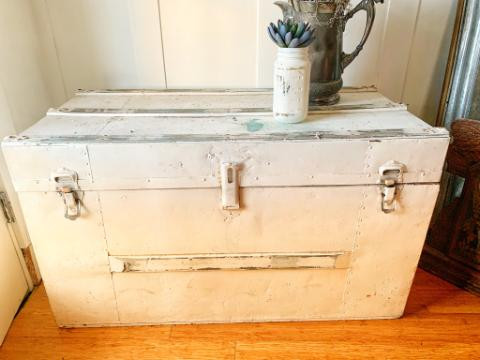 Large Distressed White Trunk