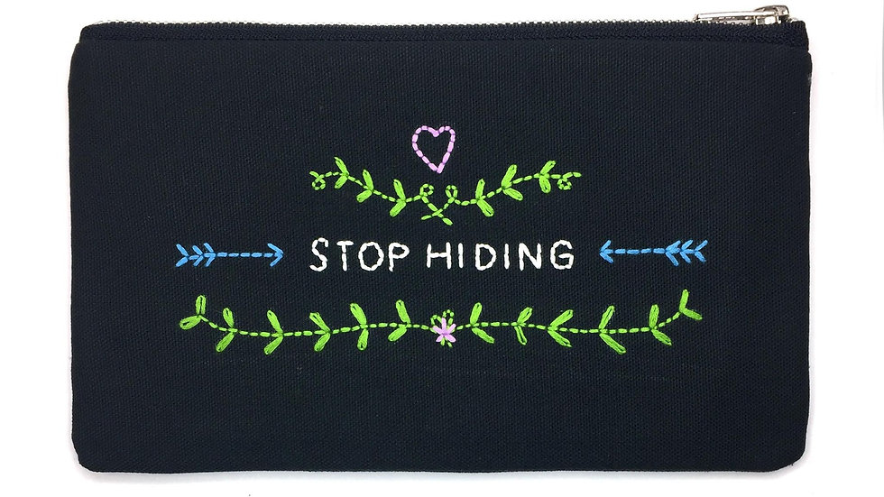 Stop Hiding Hand Embroidered Lyric  Bag