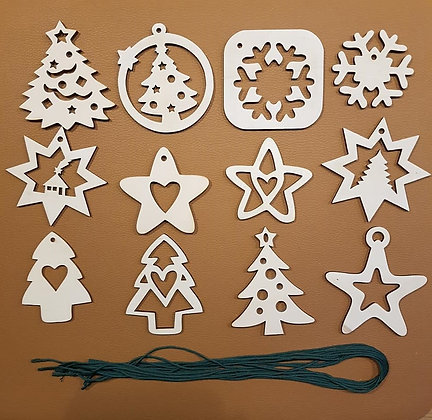 Lot 2 de 12 décorations de Noël