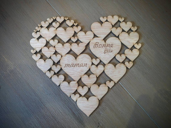 Déco Coeur Fête des Mères 15cm