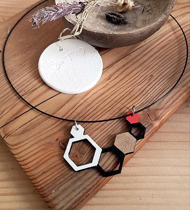 Collier créateur géométrie bois