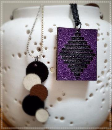 2nd collier en cuir noir et violet