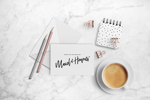 Minimal Maid of Honour Thank You Cards
