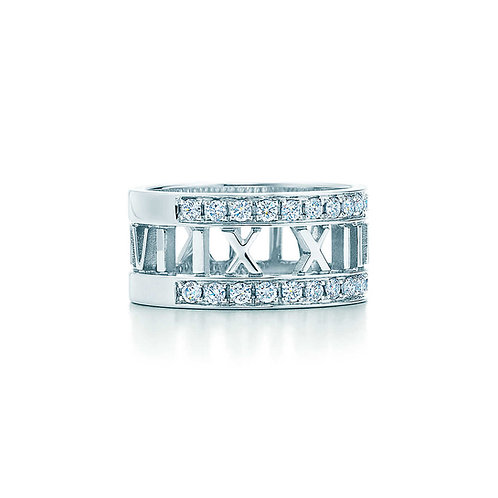 Tiffany&Co. Atlas® open ring in 18k white gold with diamonds