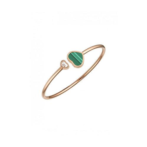 Chopard Happy Hearts Rose Gold Malachite Diamond Bangle Size M 857482-5106
