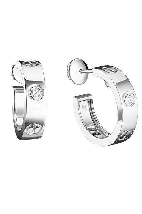 Cartier Love 18k White Gold Diamonds Earrings