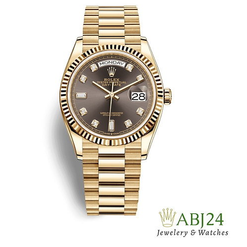Rolex Day-Date 36 Dark Grey Diamond Dial 18K Yellow Gold President 128238