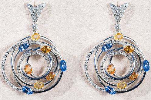 Earrings with Diamonds &Sapphires