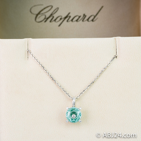 Chopard So Happy Diamond Green Crystal White Gold Round Pendant Necklace 796231