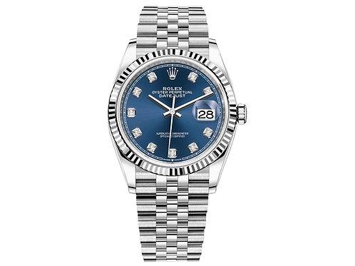 Rolex Datejust 36 White Gold/Steel Blue Diamond Dial & Fluted Bezel Jubilee Bracelet 126234 - BRAND NEW