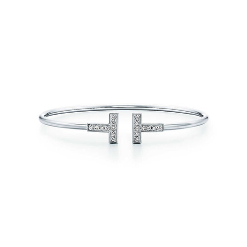 Tiffany T Diamond Wire Bracelet in 18k White Gold