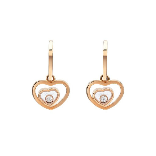 Chopard Happy Hearts Rose Gold Drop Earrings 837482 - 5001